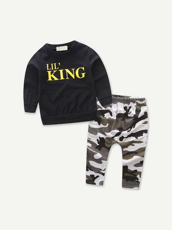 Toddler Boys Letter Print Top With Camo Print Pants, null