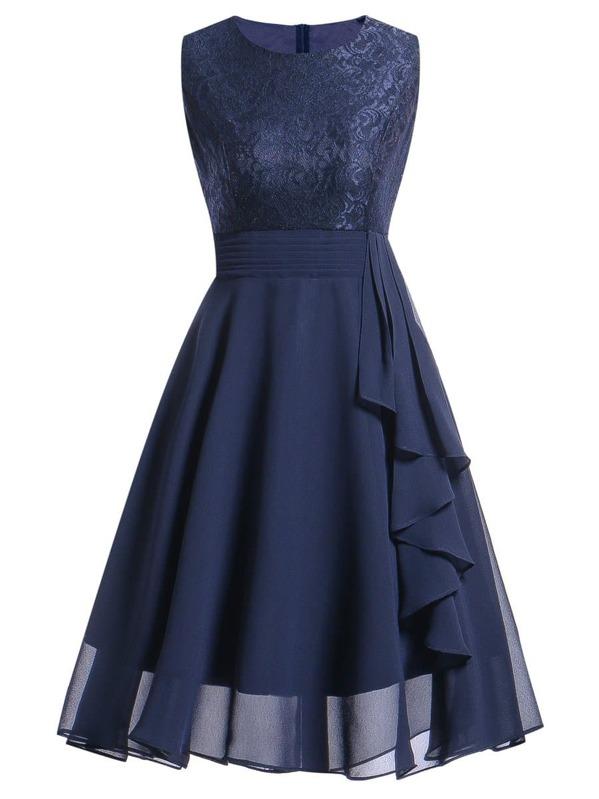 Contrast Lace Ruffle Trim Dress