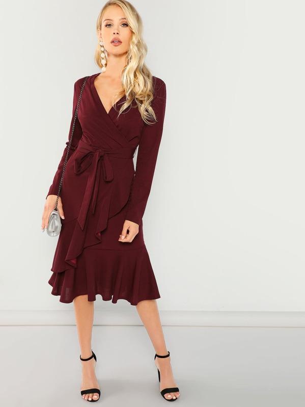 Tie Waist Ruffle Hem Surplice Wrap Dress, Allie Leggett