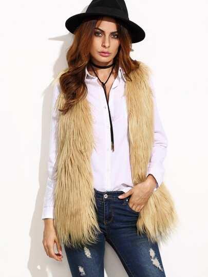 Beige Faux Fur Vest Coat