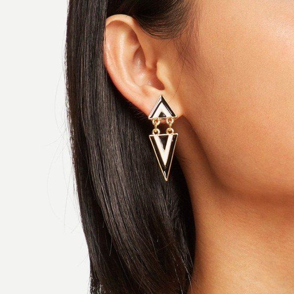Double Triangle Shaped Drop Earrings 1pair, Black and white