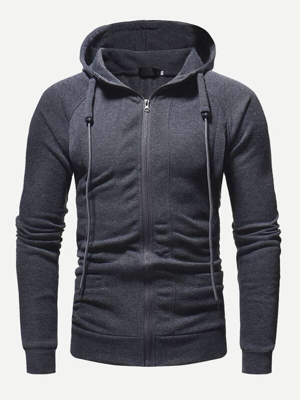 Men Zip Up Solid Hooded Sweatshirt