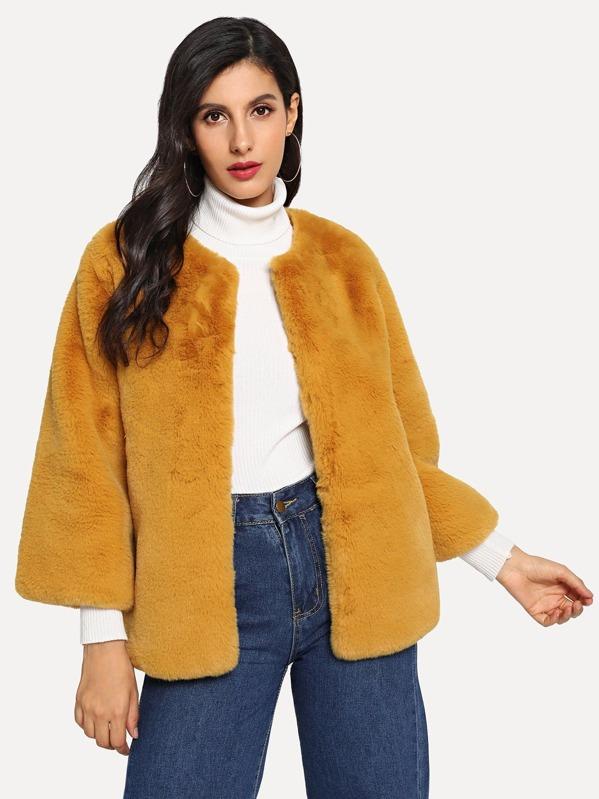 Open Front Faux Fur Coat, Jeane