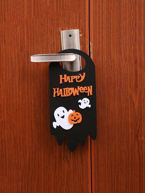 Halloween Slogan & Ghost Door Hanger 1pc, null