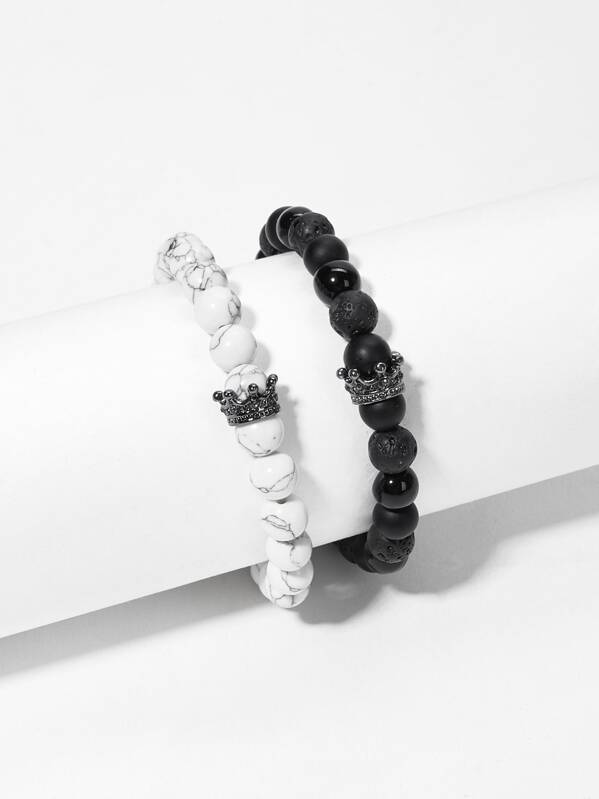 Men Marble Pattern Beaded Bracelet Set 2pcs, null