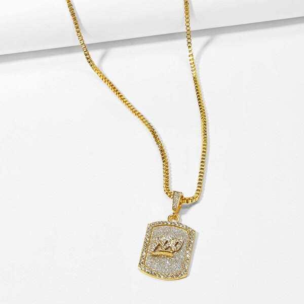 Men Figure Engraved Pendant Necklace