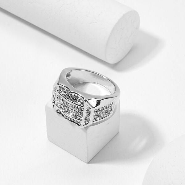 Men Rhinestone Engraved Wide Ring