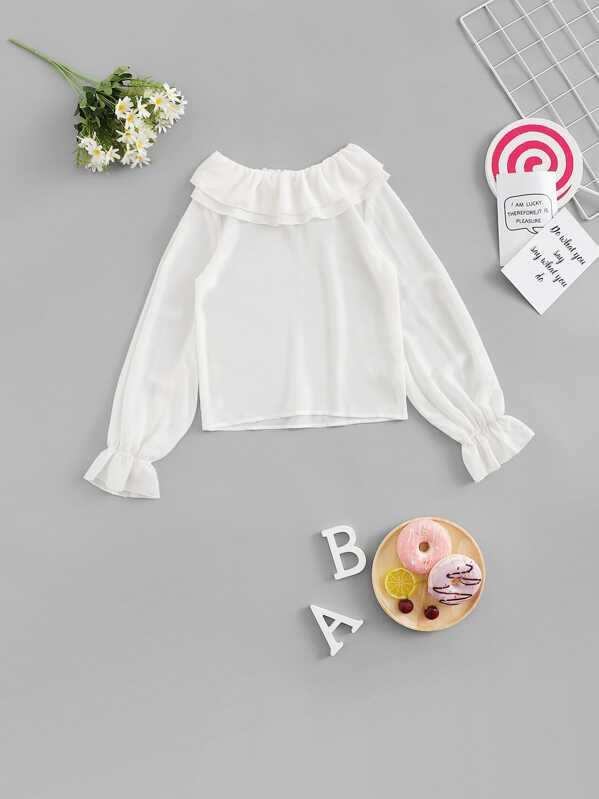 Girls Keyhole Back Bell Sleeve Solid Ruffle Top