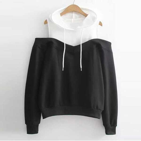 Plus Open Shoulder Drawstring Detail Hoodie