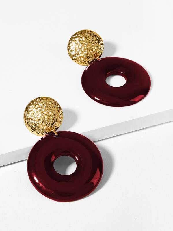 Textured Disc & Open Round Drop Earrings 1pair, null
