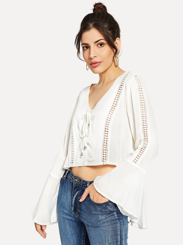 Lace Up Bell Sleeve Solid Top, Gabriela