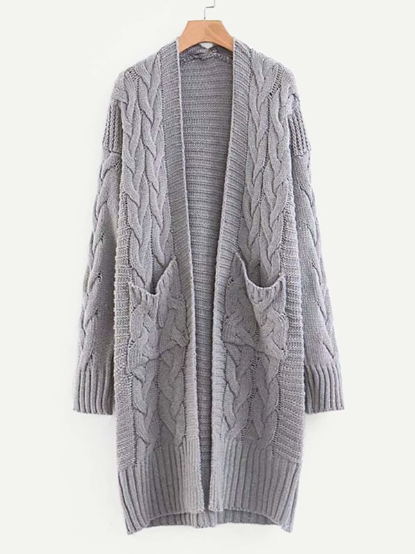 Drop Shoulder Cable Knit Cardigan, null
