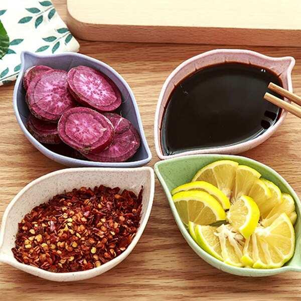 Random Color Leaf Design Dish 4pcs, Multicolor