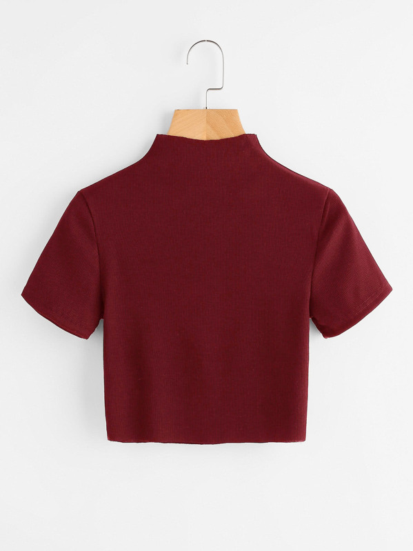 High Neck Ribbed Crop Tee, null