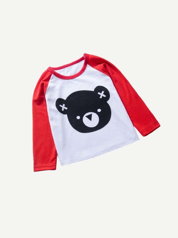 Контрастная футболка с графическим принтом для мальчиков