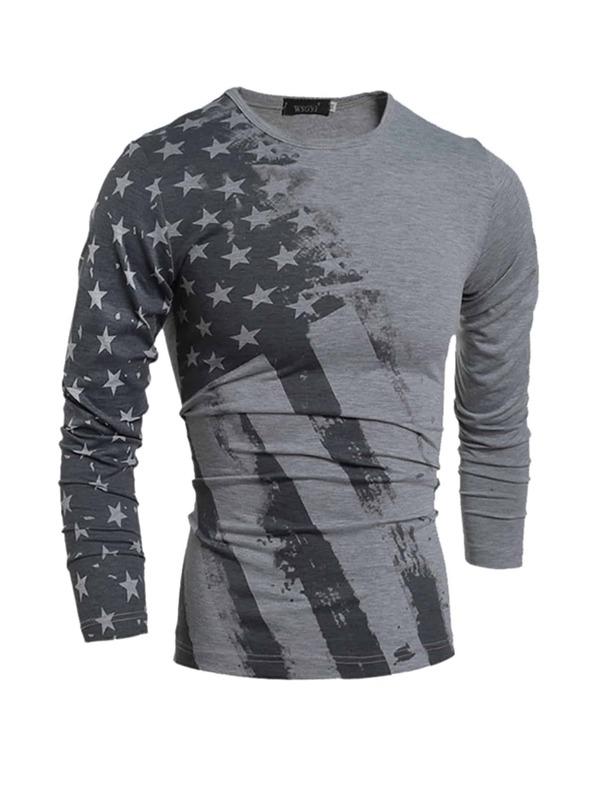 Men American Flags Print Tee, null