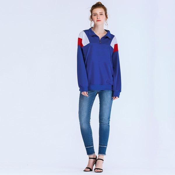 Color Block Stand Collar Sweatshirt, Blue
