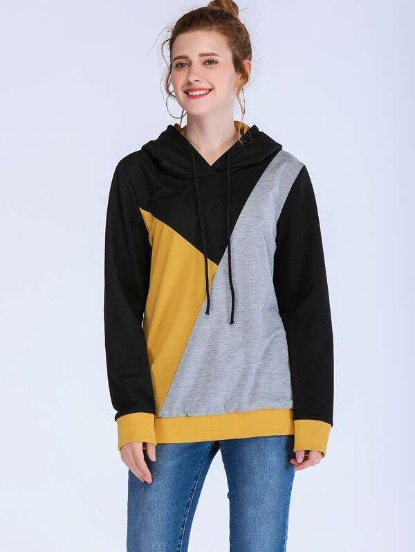 Color Block Hooded Sweatshirt, null