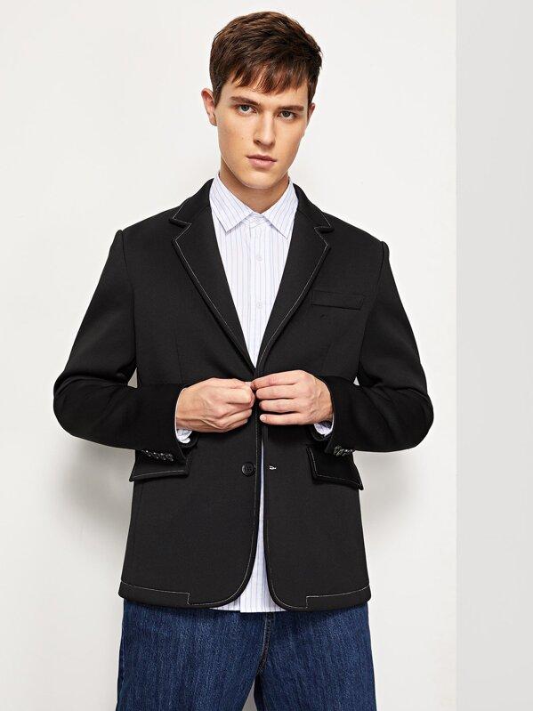 Men Button & Pocket Up Notched Neck Blazer, Vitaly
