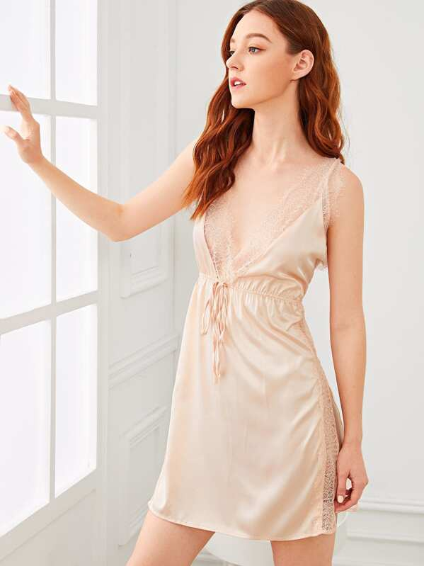 Contrast Lace Split Side Cami Dress, Poly