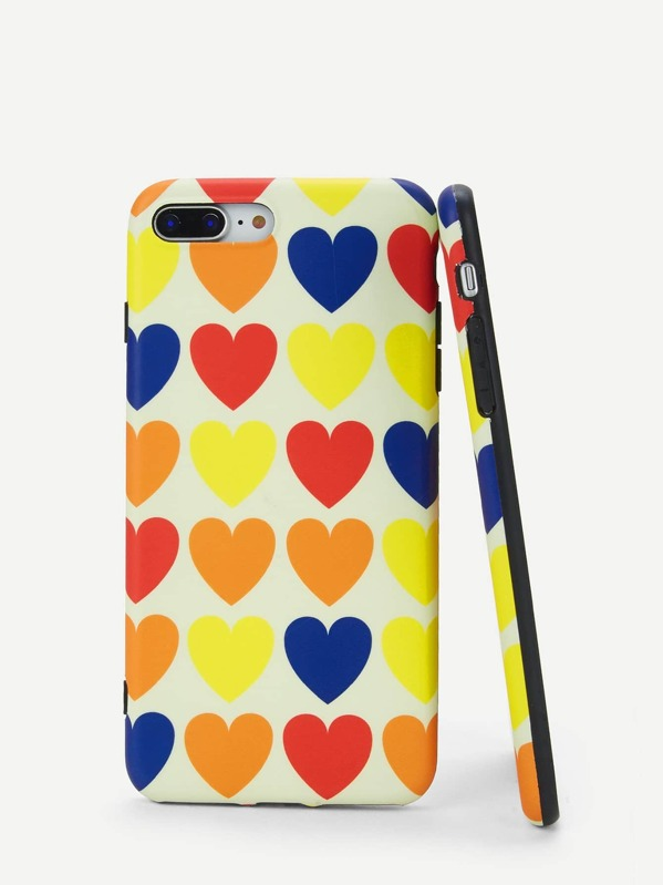 Color Block Heart Pattern iPhone Case, null