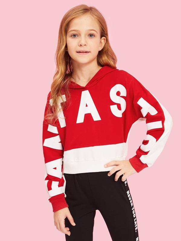 Girls Letter Print Hoodie Sweatshirt, Kassia