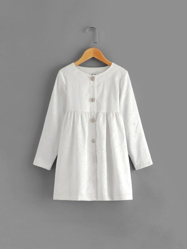 Girls Button Up Jacquard Jacket