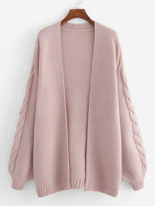 Plus Open Front Solid Cardigan