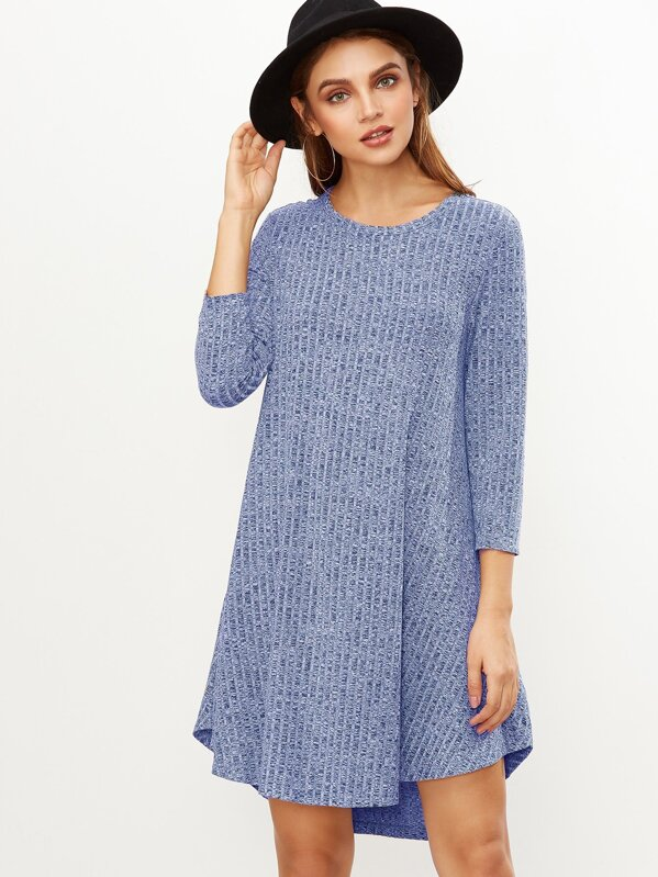 Marled Knit Ribbed Swing Dress, Olga
