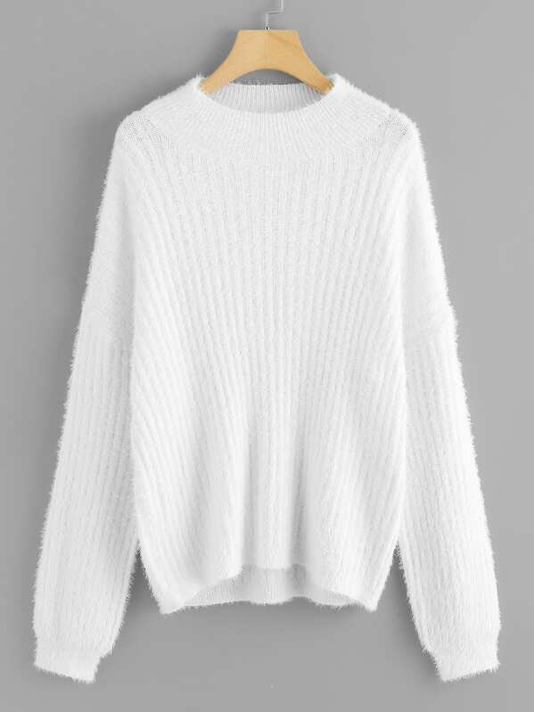 Plus Ribbed Knit Fuzzy Jumper