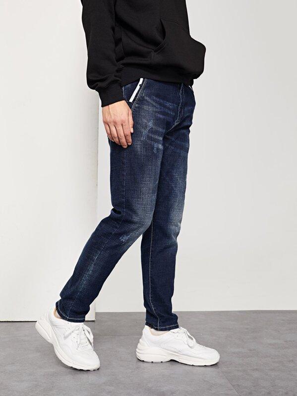 Men Drawstring Waist Ripped Jeans, Vitaly