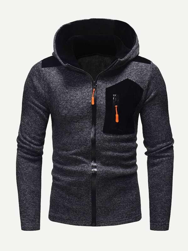 Men Zipper Fly Hooded Sweatshirt