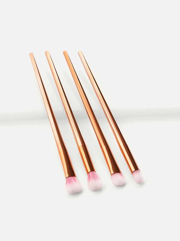 Metallic Handle Makeup Brush Set 4pcs