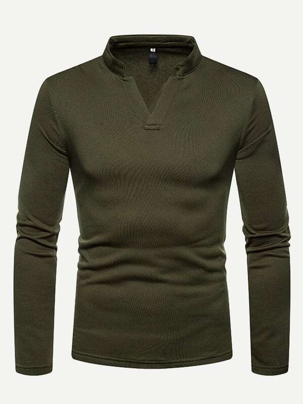 Men Solid V Neck Polo Shirt