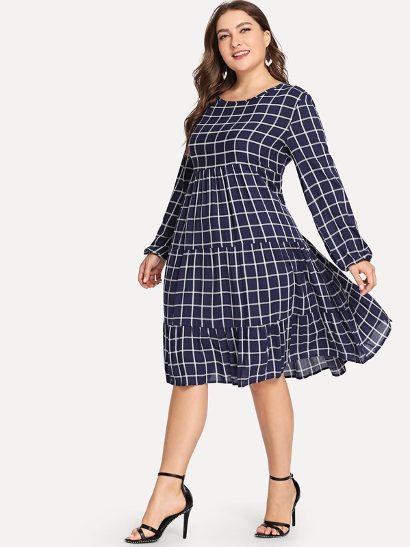 Plus Ruffle Hem Plaid Dress, Franziska