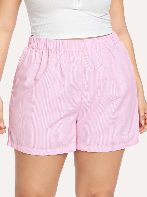 Plus Elastic Waist Striped Shorts, Franziska