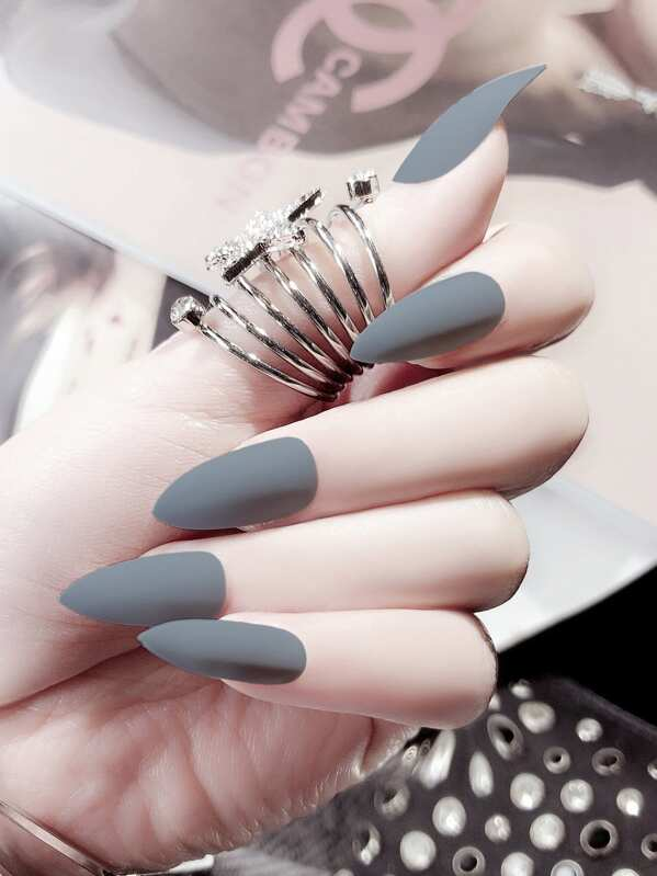 Matte Plain Fake Nails Set 25pcs, null