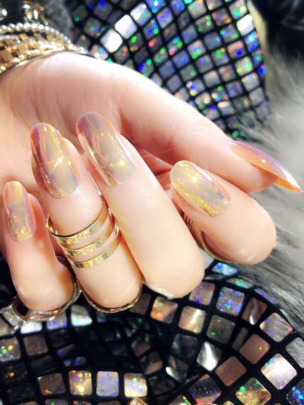 Metallic Fake Nails Set 25pcs, null