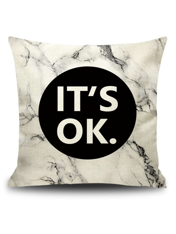 Slogan Print Marble Pattern Cushion Cover, null