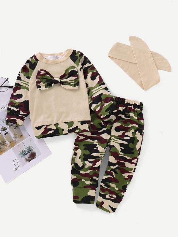 Toddler Boys Bow Front Camo Print Top With Pants, null