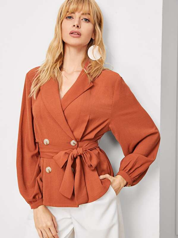 Shawl Collar Double Breasted Placket Belted Blazer, Masha