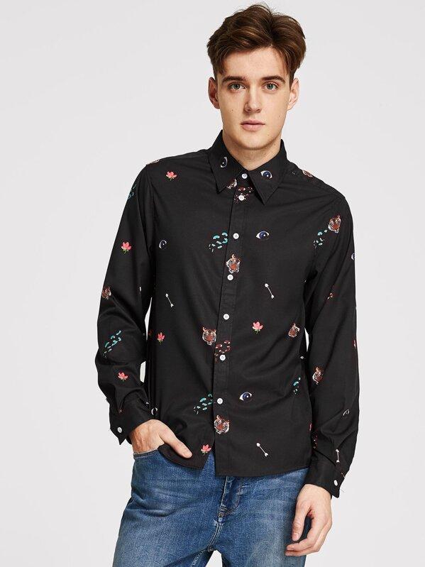 Men Mixed Print Shirt, Jan