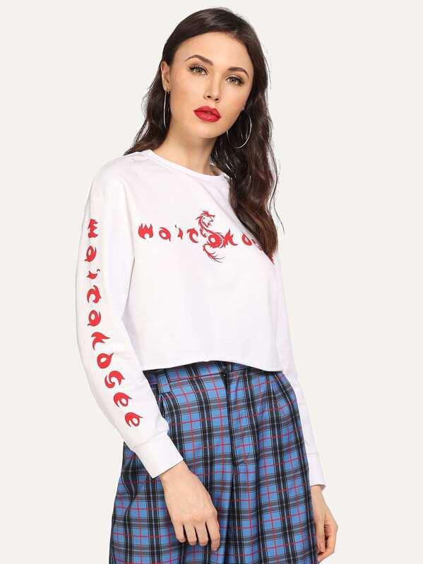 Letter Print Crop Sweatshirt, Karina