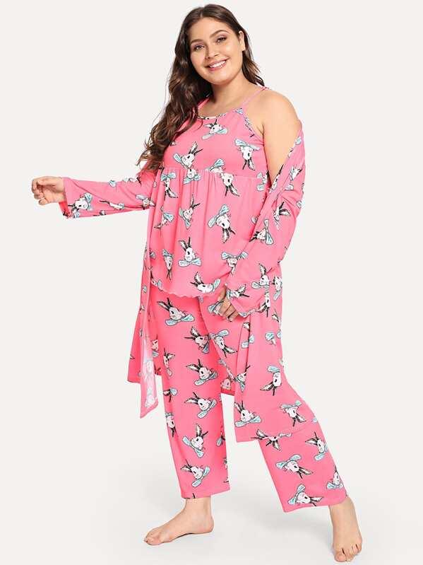 Plus Rabbit Print Cami Pajama Set With Robe, Carol