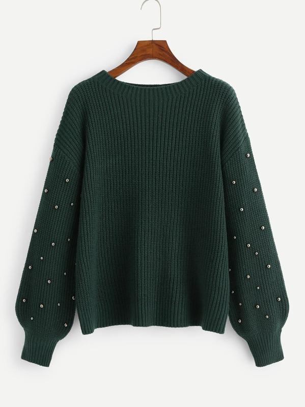 Beading Lantern Sleeve Drop Shoulder Sweater