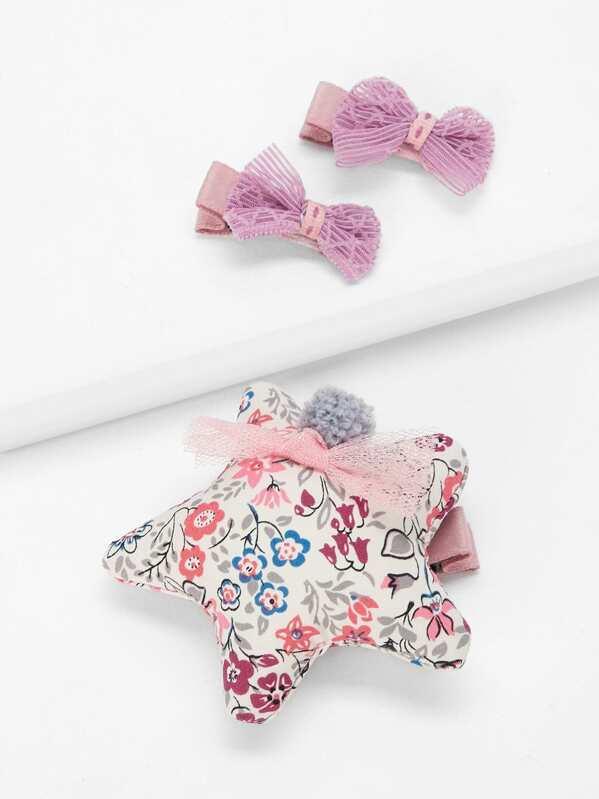 Toddler Girls Star & Bow Shaped Hair Clip 3pcs