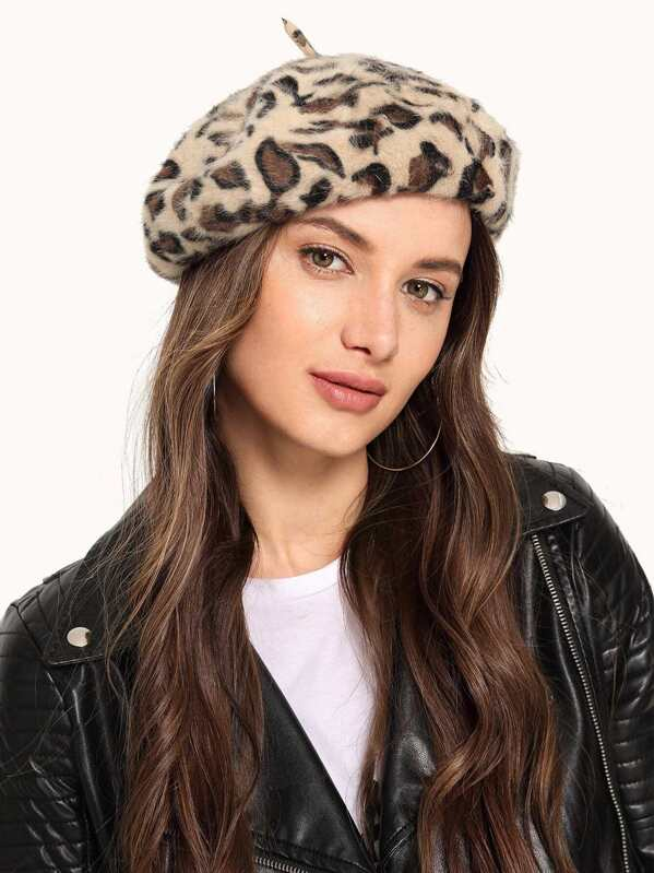 Leopard Beret Cap, Multicolor