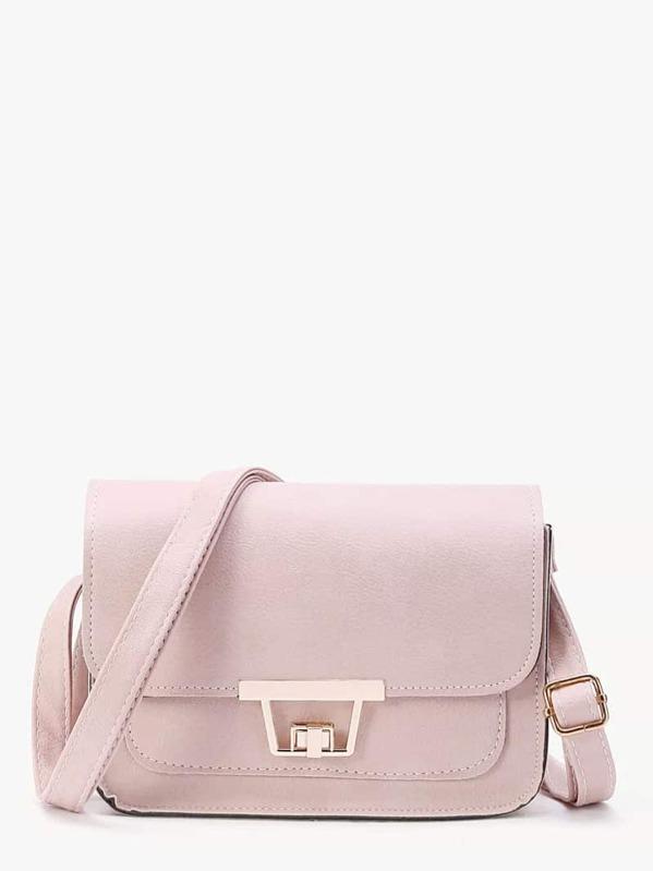 Twist Lock Flap Crossbody Bag, null