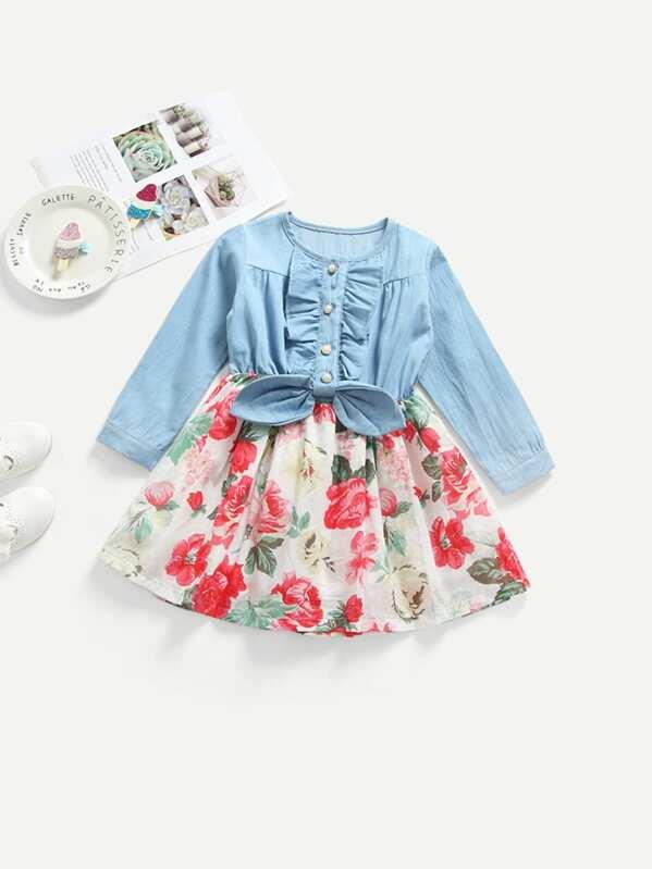Ситцевое платье с кружевными оборками для малышских девочек, null