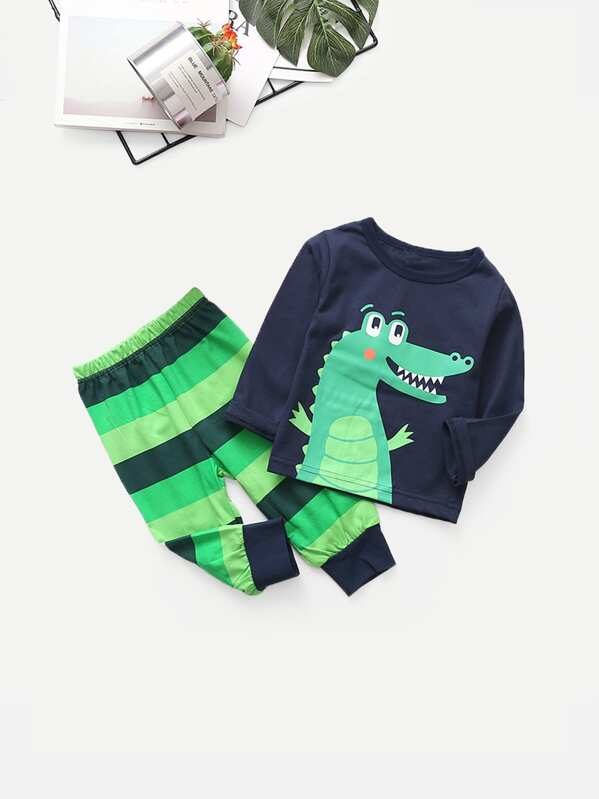 Toddler Boys Cartoon Print Top With Striped Pants, null